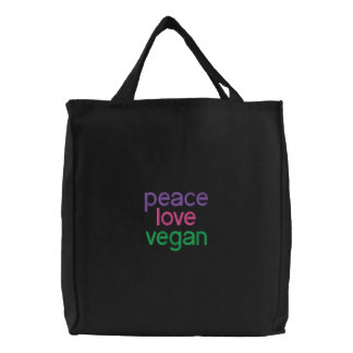 peace, love, vegan canvas bags