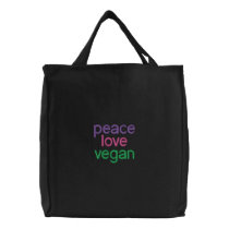 peace, love, vegan embroidered tote bag