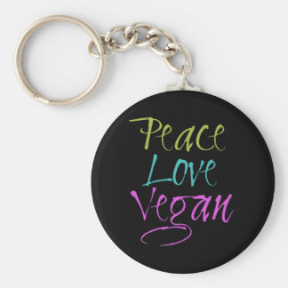 Peace, Love, Vegan Keychain