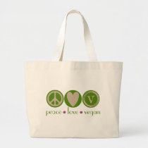 Peace Love Vegan Large Tote Bag