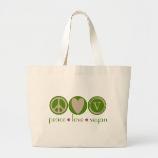 Peace Love Vegan Large Tote Bag