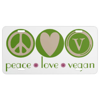 Peace Love Vegan License Plate