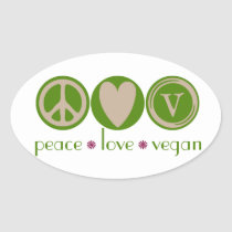 Peace Love Vegan Oval Sticker
