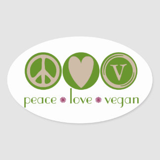 Peace Love Vegan Oval Sticker