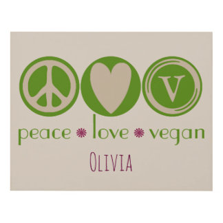 Peace, Love, Vegan Panel Wall Art