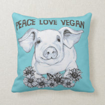 Peace Love Vegan Pig Pillow