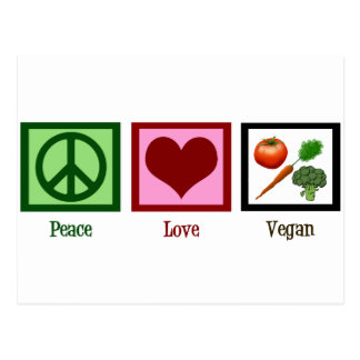 Peace Love Vegan Postcard