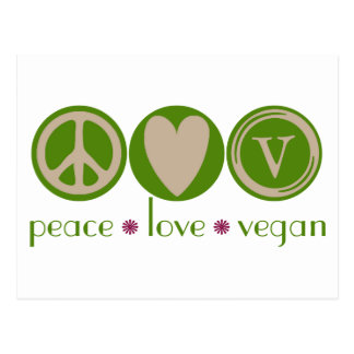 Peace Love Vegan Postcard