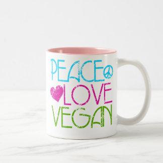 .Peace.Love.Vegan. Two-Tone Coffee Mug