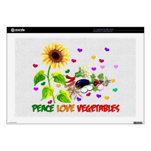"Peace Love Vegetables 17"" Laptop Decal"