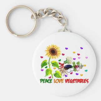 Peace Love Vegetables Basic Round Button Keychain