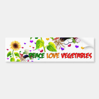 Peace Love Vegetables Bumper Sticker