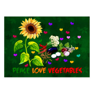 Peace Love Vegetables Large Business Cards (Pack Of 100)