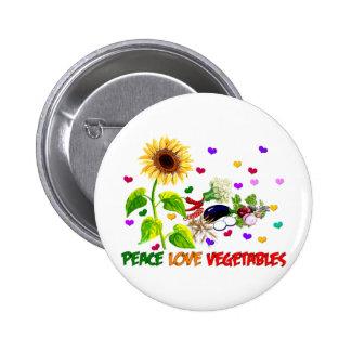 Peace Love Vegetables Button