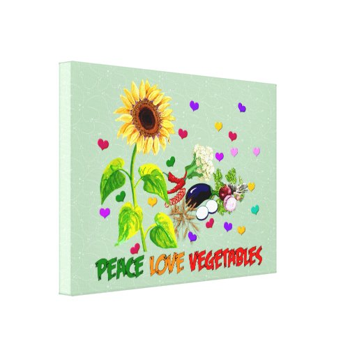 Peace Love Vegetables Stretched Canvas Print