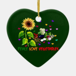 Peace Love Vegetables Ceramic Ornament