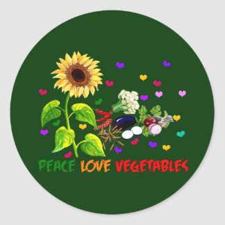 Peace Love Vegetables Classic Round Sticker
