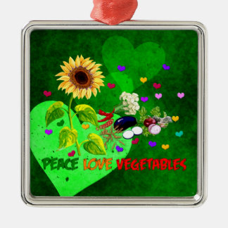 Peace Love Vegetables Metal Ornament