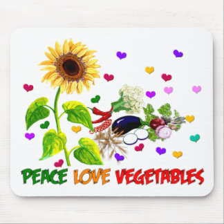 Peace Love Vegetables Mouse Pad