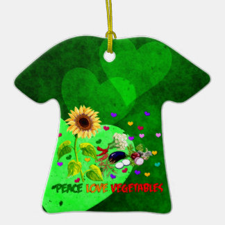 Peace Love Vegetables Double-Sided T-Shirt Ceramic Christmas Ornament
