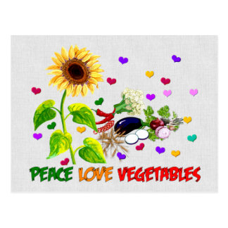 Peace Love Vegetables Postcard