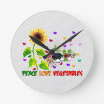 Peace Love Vegetables Round Wall Clock