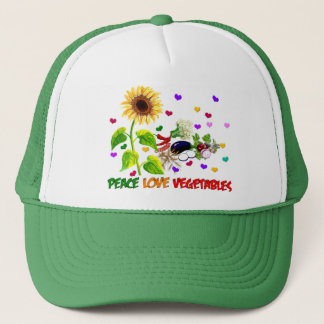 Peace Love Vegetables Trucker Hat