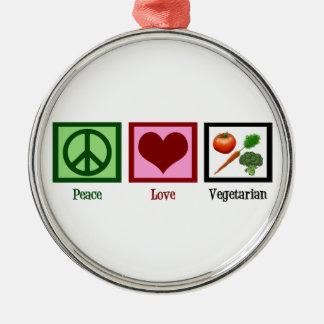 Peace Love Vegetarian Round Metal Christmas Ornament