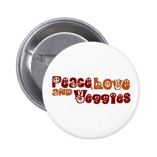 Peace Love Veggies 2 Inch Round Button