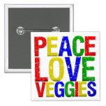 Peace Love Veggies 2 Inch Square Button