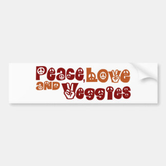 Peace Love Veggies Bumper Stickers
