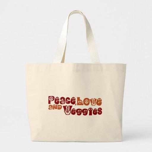 Peace Love Veggies Canvas Bag