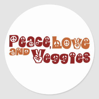 Peace Love Veggies Classic Round Sticker