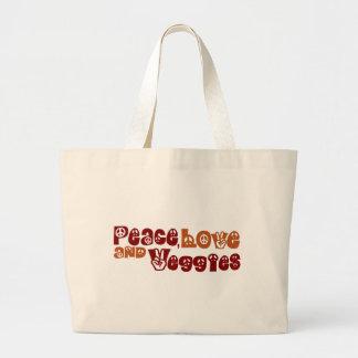 Peace Love Veggies Large Tote Bag