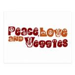 Peace Love Veggies Postcard