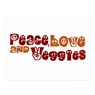 Peace Love Veggies Postcard