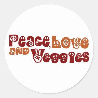 Peace Love Veggies Classic Round Sticker