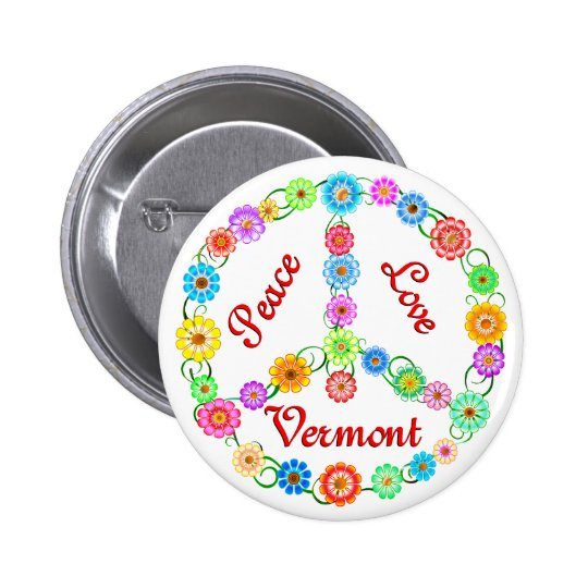 Peace Love Vermont Button