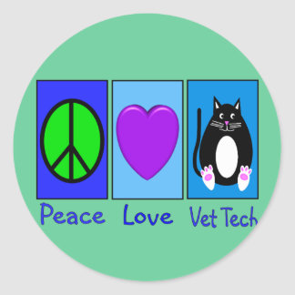 Peace Love Vet Tech Classic Round Sticker