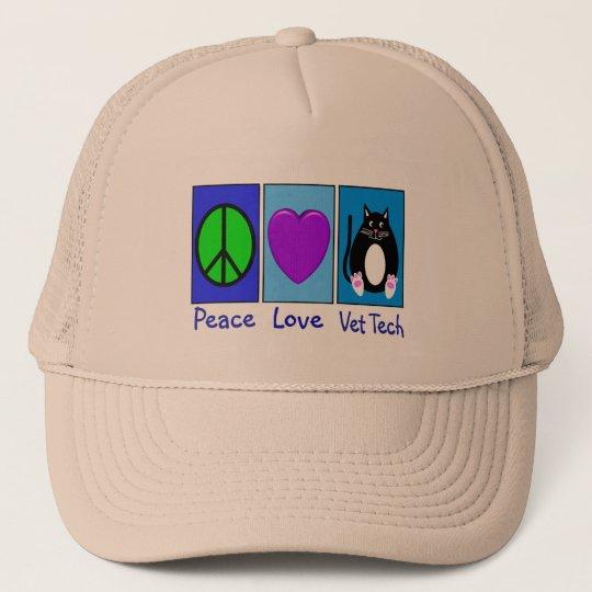 Peace Love Vet Tech Trucker Hat