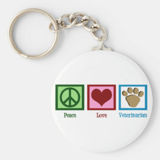 Peace Love Veterinarian Basic Round Button Keychain