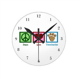 Peace Love Veterinarian Clock