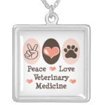 Peace Love Veterinary Medicine Necklace