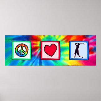 Peace, Love, Vintage Golf Poster