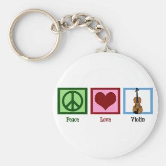 Peace Love Violin Basic Round Button Keychain