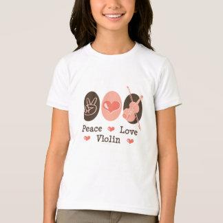 Peace Love Violin Kids Ringer T shirt