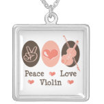 Peace Love Violin Necklace