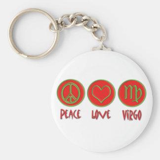Peace Love Virgo Basic Round Button Keychain