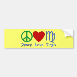 Peace Love Virgo Gifts and Products Bumper Sticker