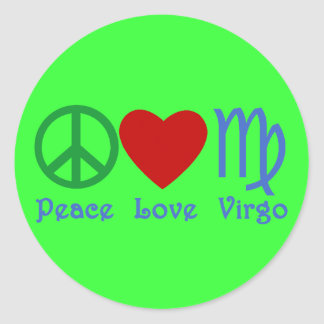 Peace Love Virgo Gifts and Products Classic Round Sticker